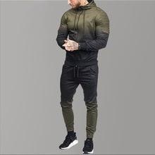 Brand Men Hoodies Gradient Fold Sport Tracksuit