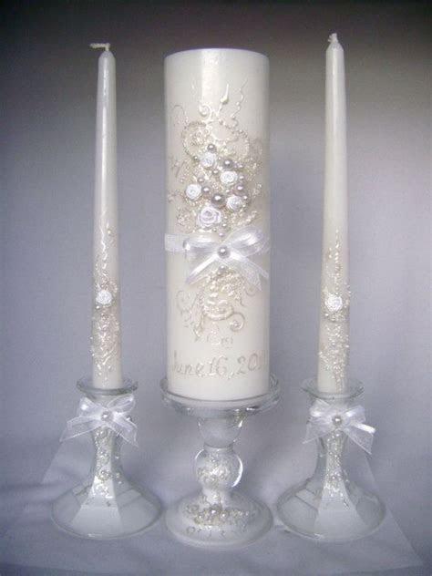 Elegant Wedding unity candle set in white, grey and blush