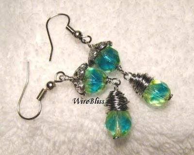 Wire wrapped Czech fire polished earrings