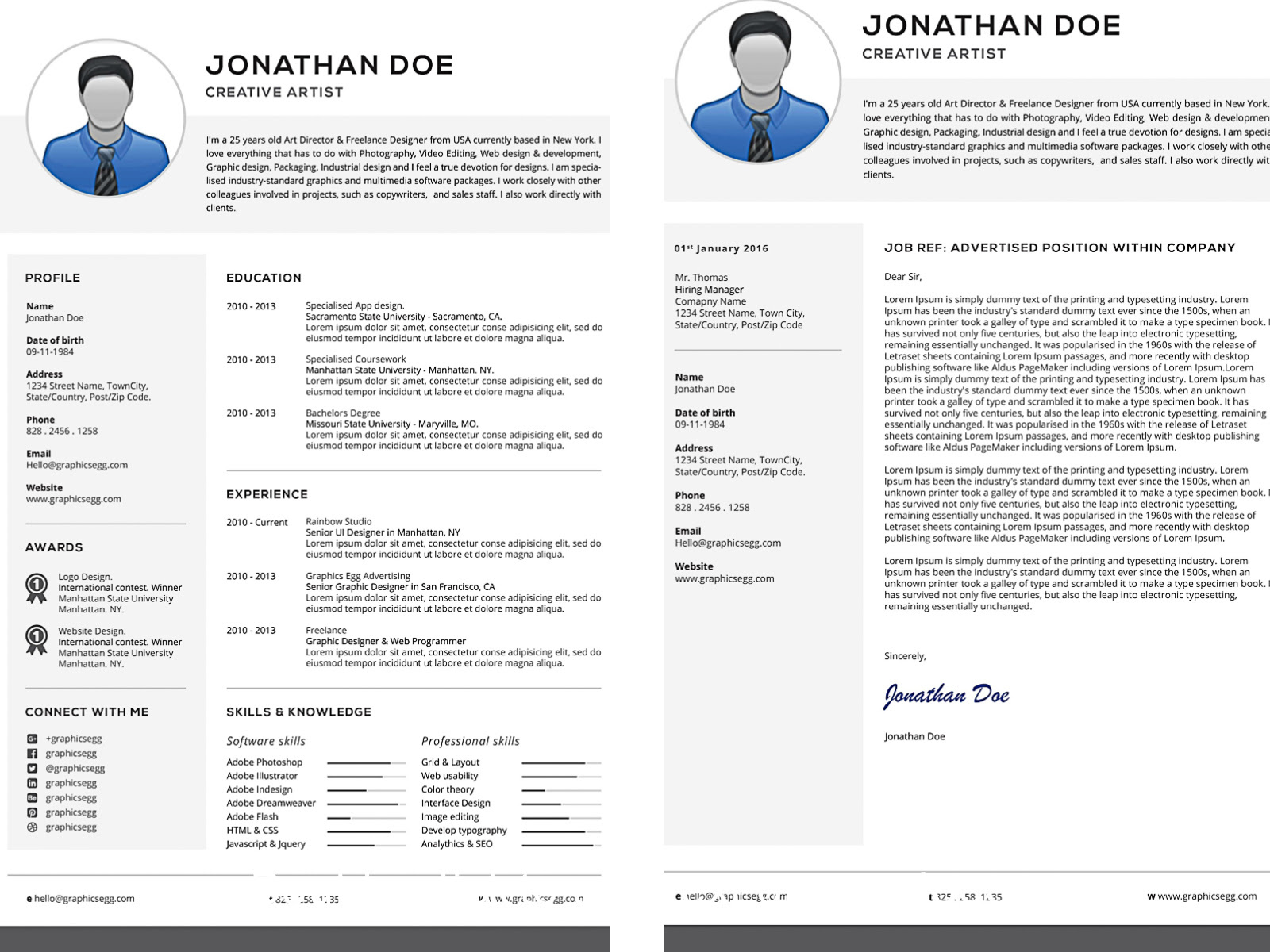 Professional resume with cover letter set