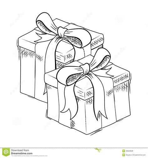 christmas gift sketch stock vector illustration