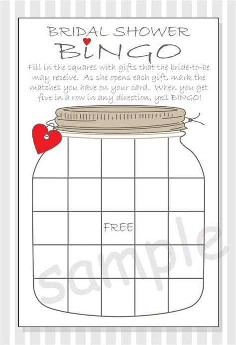 Bridal Shower Bingo Printable Cards   Gift Bingo   Rustic