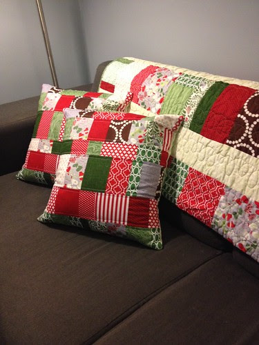 Christmas pillows and quilt