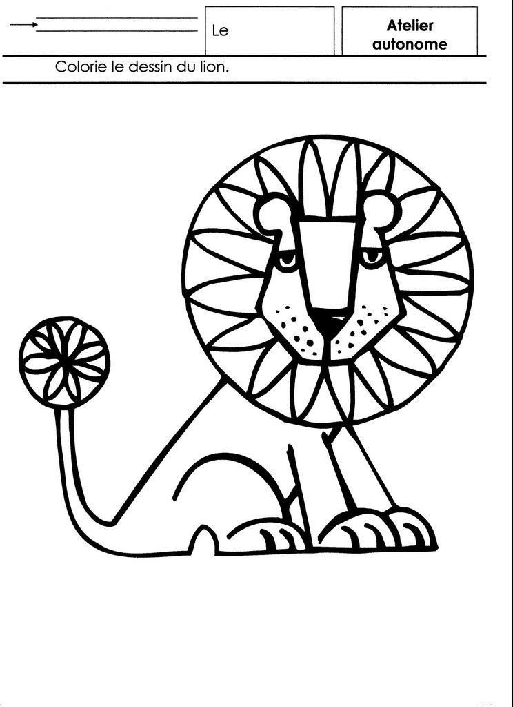 Afrique Coloriage Dun Lion école Maternelle Gellow