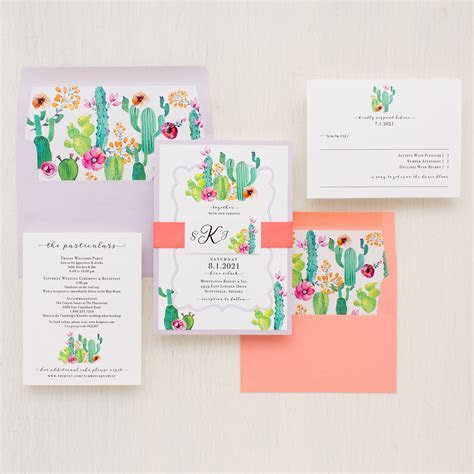 Colorful Cactus Wedding Invitations   Beacon Lane