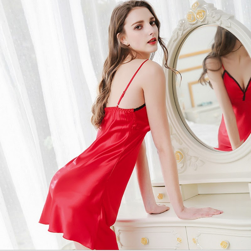 Cheap  2018 Spring Women Sleepwear Ladies Sexy Lingerie Silk Lace Sleepdress Babydoll Nightdress Nightgown