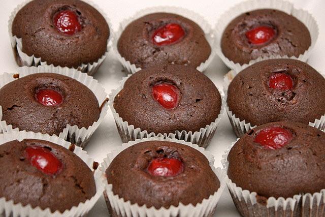 Choc rum cherry cupcakes