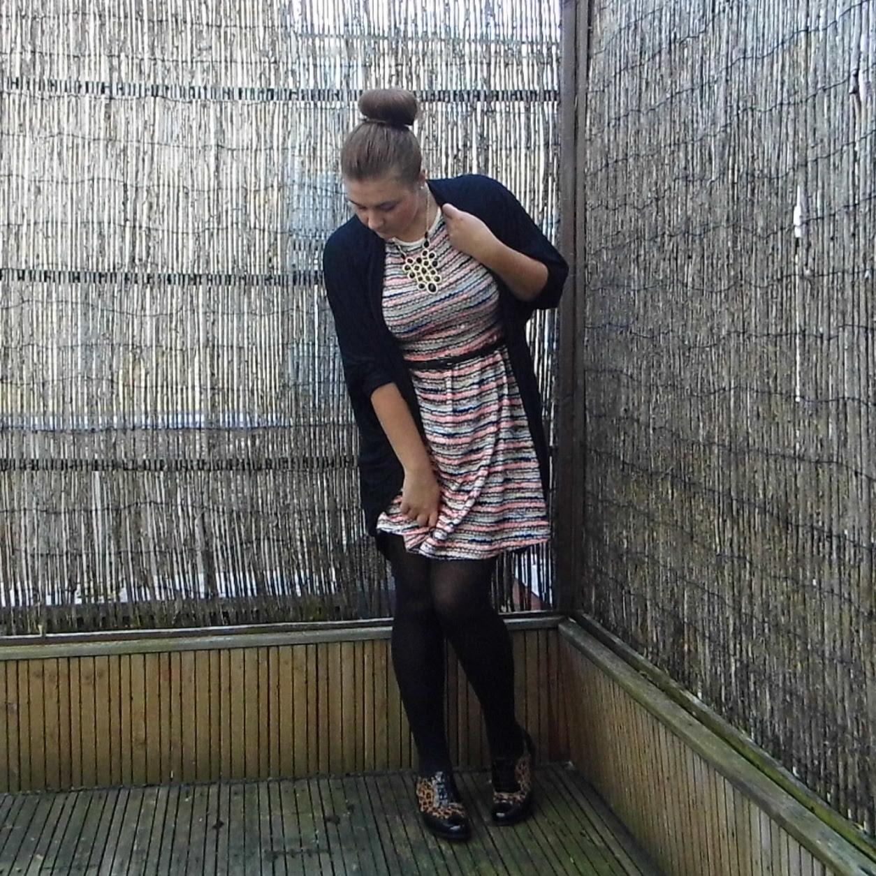 Chloe ASOS Skater Dress multi stripe