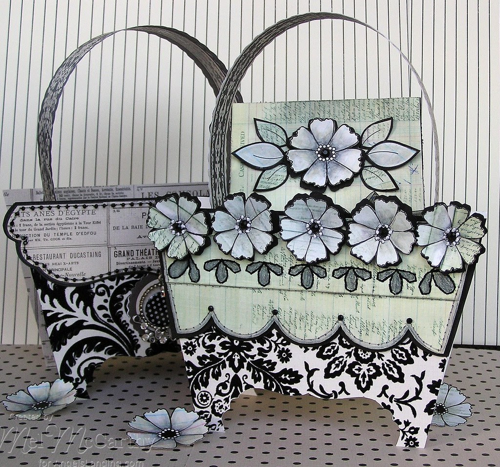 Pierced Backgrounds & Simply Flowers Purse (card box) melstampz