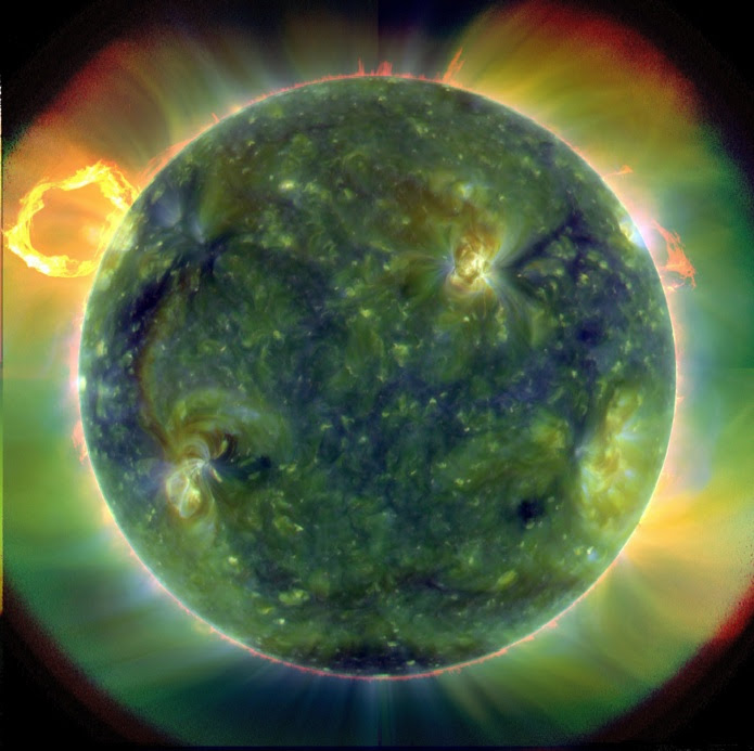 (From NASA:) A full-disk multiwavelength extreme ultraviolet image of the sun taken by SDO on March 30, 2010. False colors trace different gas temperatures. Reds are relatively cool (about 60,000 Kelvin, or 107,540 F); blues and greens are hotter (greater than 1 million Kelvin, or 1,799,540 F). Credit: NASA