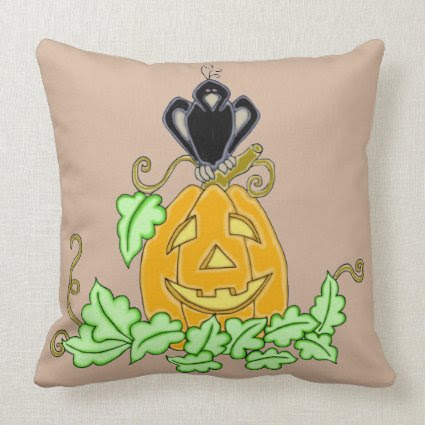 Crow and Pumpkin Throw Pillow