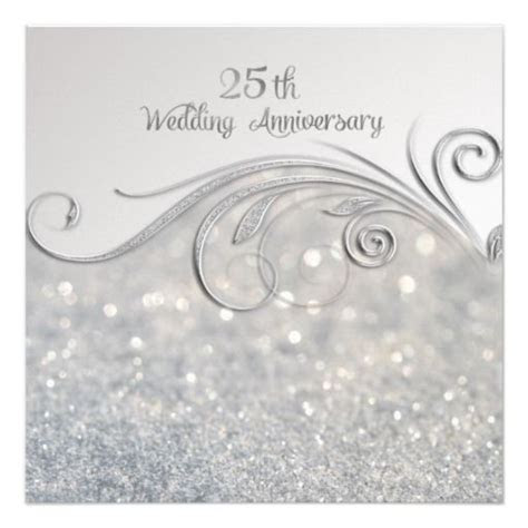 Sparkle Silver 25th Wedding Anniversary Invitation
