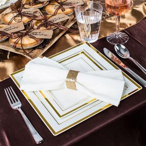 Square Bone Gold Rim Plastic Dinner Plates   Marriage
