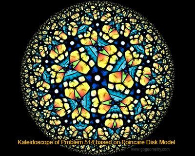 Kaleidoscope of Geometry Problem 514 based on Poincare Disk Model.
