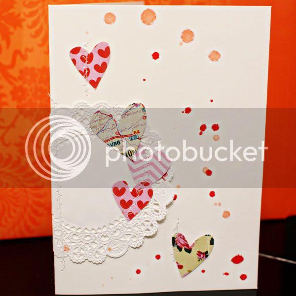Doily Hearts card
