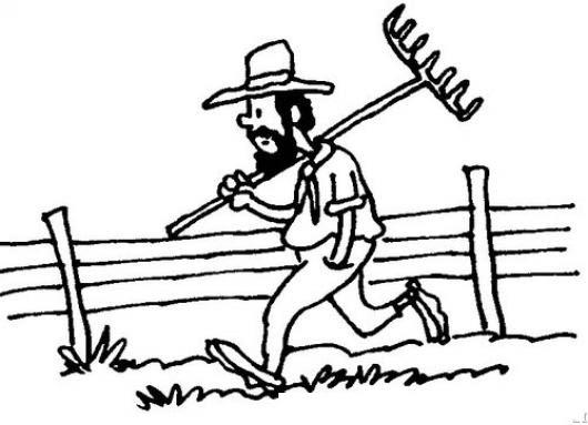 Dibujo De Un Granjero Caminando Con Un Arado En El Hombro Para