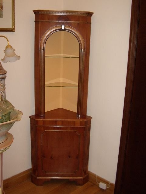 Corner Cabinet With Open Glass Shelves & Lower Lockable ...