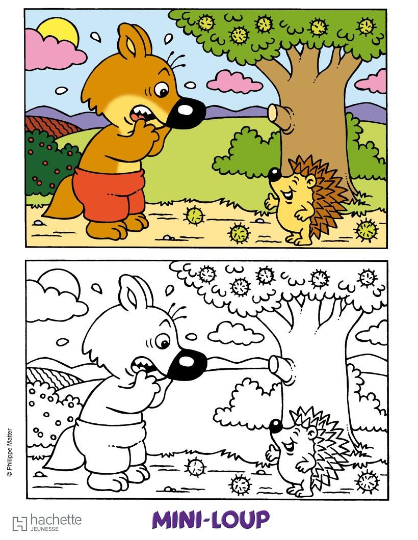 MINI LOUP et le hérisson Coloriage Coloriage DESSINS ANIMES Coloriage MINI
