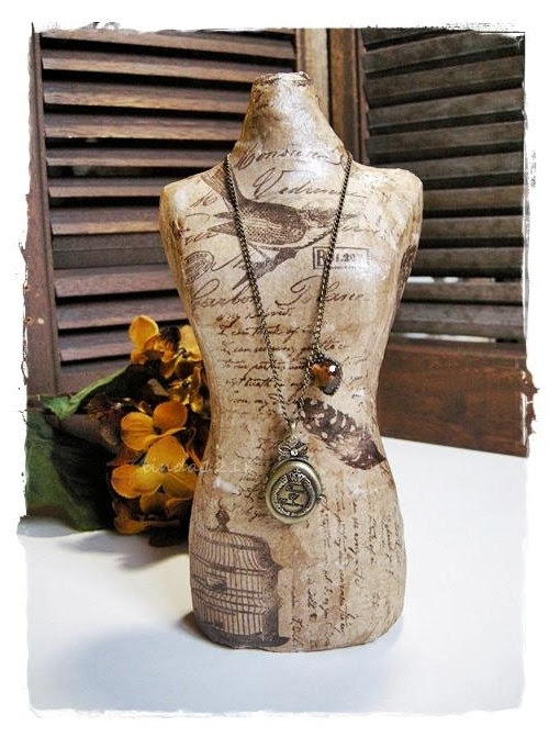 Shabby Chic home decoration vintage collage Dress Form by lin168, $39.00