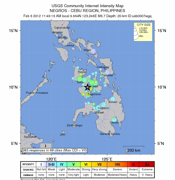 earthquakes in visayas This is necessary to mitigate the possible damaging effects of future earthquakes in the philippines on 15 october 2013 at 08:12 lt (local time), a magnitude ( m w ) 72 earthquake struck the island of bohol (phivolcs, 2013c) in the central philippines region of visayas (fig 1) the earthquake's focus was 12 km deep with.
