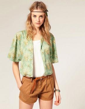 Image 1 ofASOS Fan Floral Print Kimono Jacket