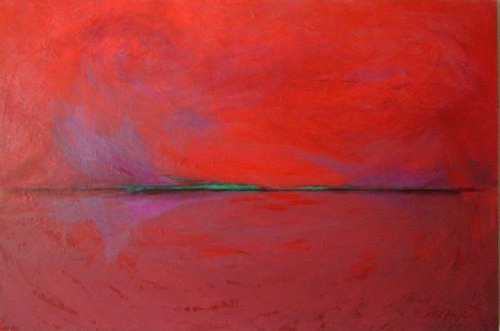Red, Purple, Green, mixed media, 70 x 100 cm, by M.K. Hajdin