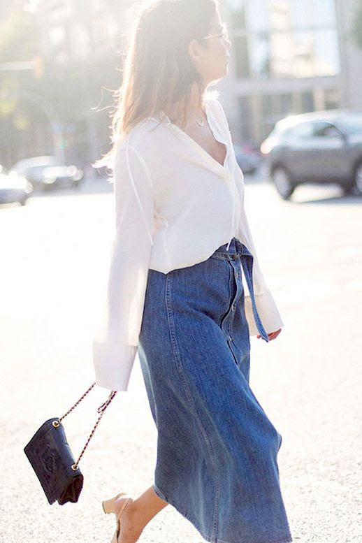 Le Fashion Blog Fall Blogger Style Clear Eyeglasses White Button Down Blouse Long Jean Skirt Chanel Quilted Chain Strap Shoulder Bag Cap Toe Slingback Heels Via Collage Vintage