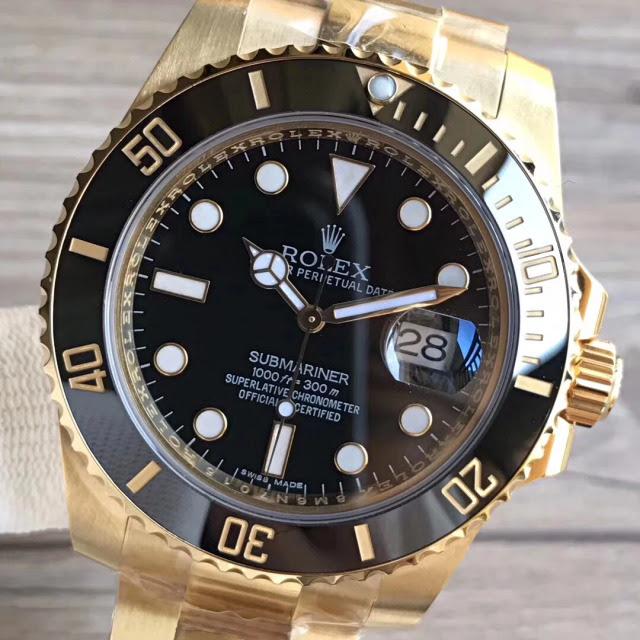 Replica Rolex Submariner 18K Golden Black Dial