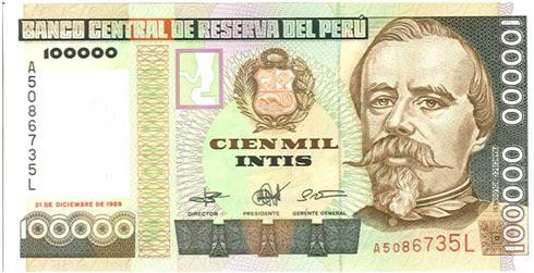 Peru 100 000 Intis 1989