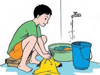 Gambar Kartun Mencuci Baju