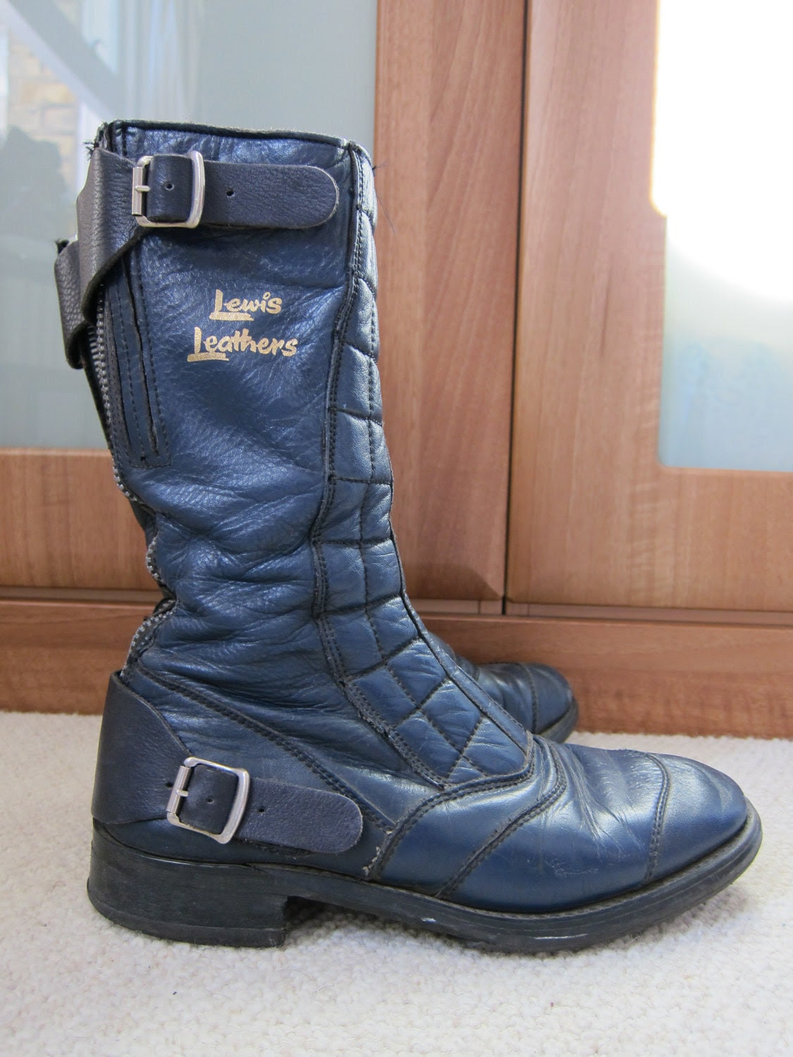 Lewis Leather Quilted British Motocycle Biker Boots in Navy with Buckles, Size UK 5-6, Mod, Scooter, Rocker, Goth, Grunge