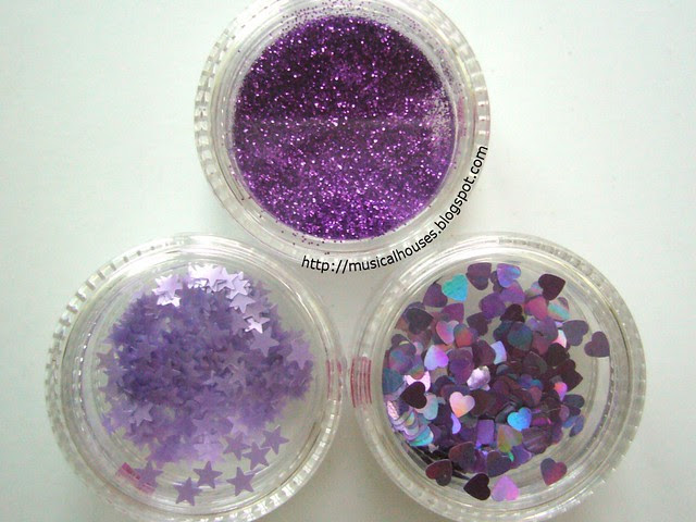 daiso nail art glitter set purple close
