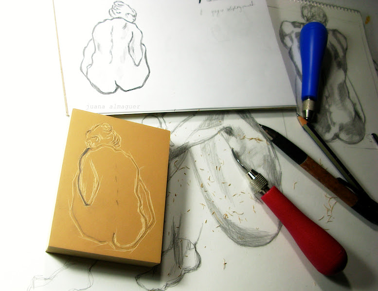 linocut work in progress