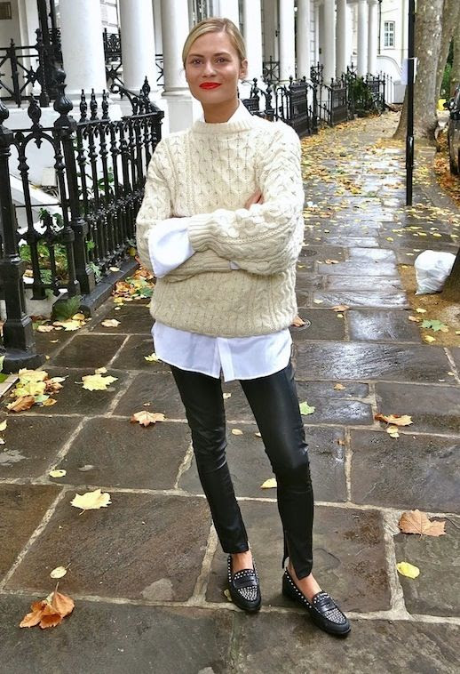 Le Fashion Blog Blogger Style Cream Cable Knit Sweater White Button Down Shirt Leather Pants Studded Loafers Via Pandora Sykes