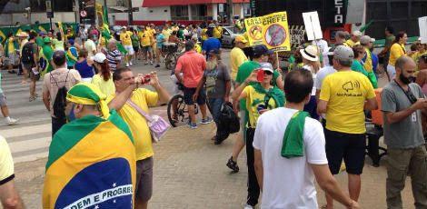Vestidos com roupas das cores da bandeira nacional, manifestantes pediram a saída da presidente  / Foto: Guga Matos/JC Imagem