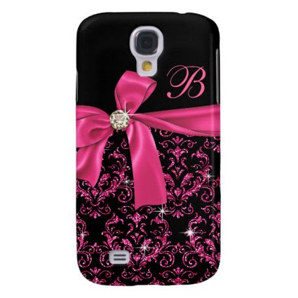Elegant Black Pink Damask Diamond Bow Monogram Samsung Galaxy S4 Cover