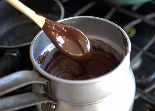 whiskey ganache in double boiler