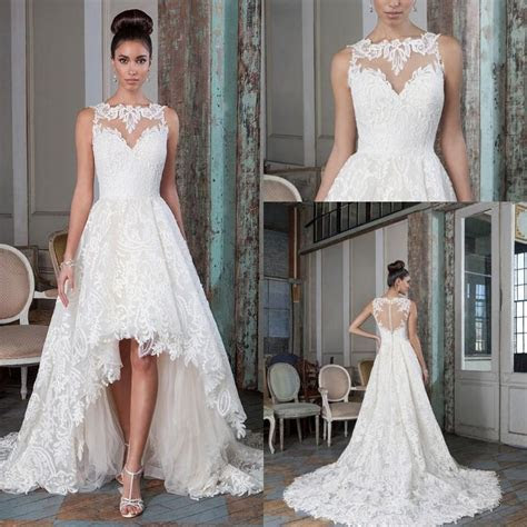 2016 Justin Alexander High Low Lace Wedding Dresses Bateau
