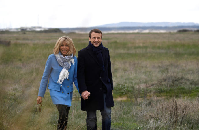 The French Presidential candidate Emmanuel Macron and his wife, Brigitte Trogneux. Macron has emerged as a powerful champion of families in their many forms.
