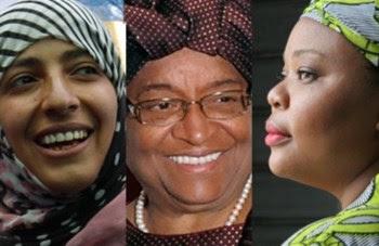 Las tres mujeres distinguidas hoy con el Premio Nobel de la Paz