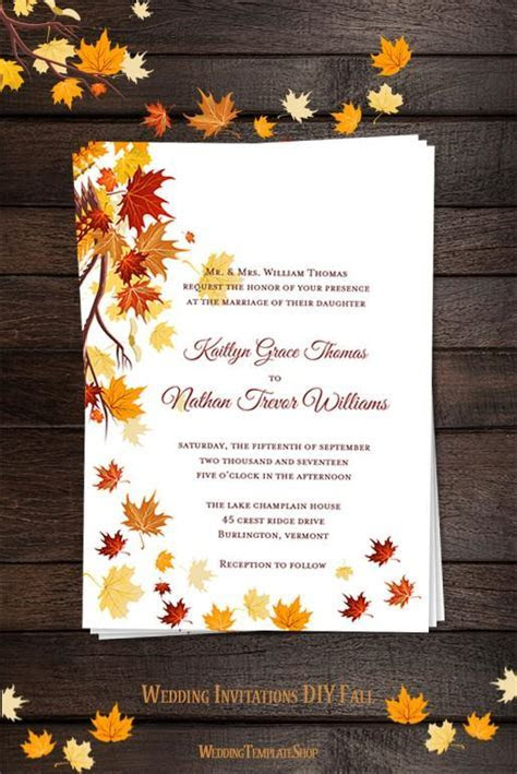 Falling Leaves Wedding Invitation Fall Orange Yellow