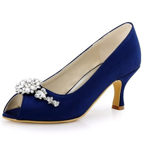 Shoes Woman Blue Evening Party Prom Mid Heels Pumps Clip