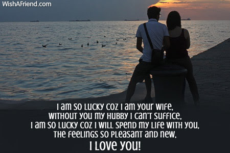 I Am So Lucky Coz I Love Message For Husband