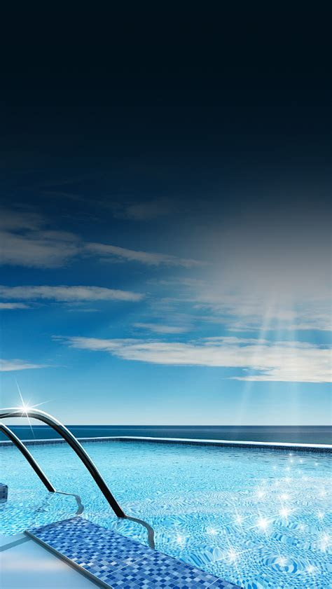 freeios swimming pool shiny parallax hd iphone ipad