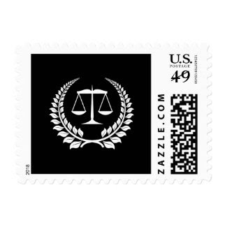 Black/White Laurel Law School Graduation Postage Stamps