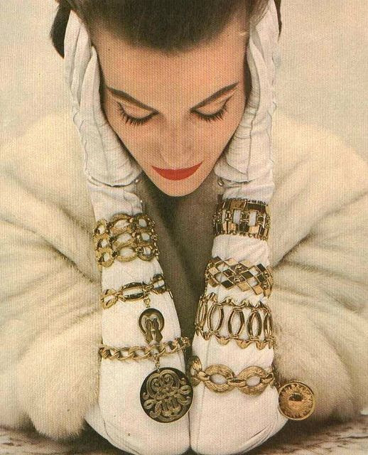 Monet Jewelry, Vogue 1954 http://www.nomad-chic.com/search/index.html?term=gold