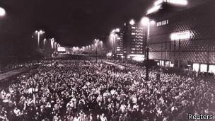 Manifestación en las calles de Leipzig