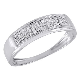 10K White Gold Mens Pave Round Diamond Wedding Band