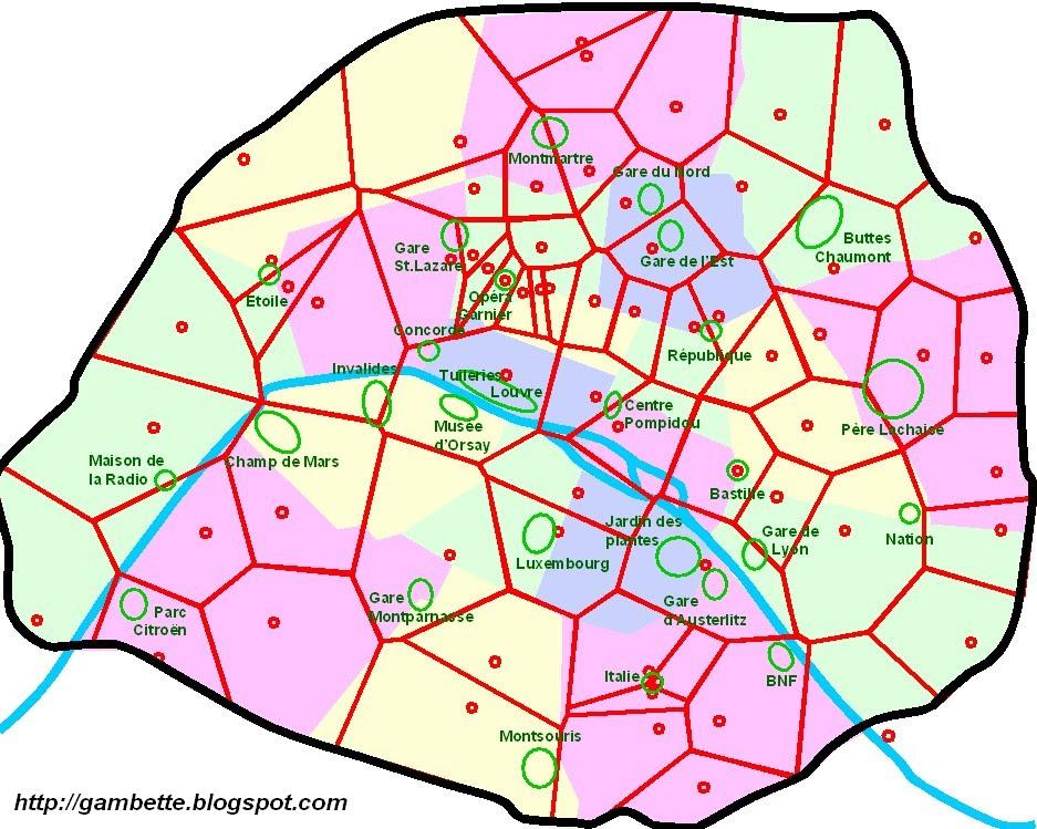 Diagramme de Voronoï des McDos parisiens