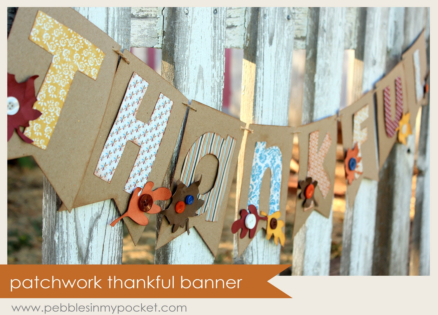 "Premade Patchwork Thankful Banner (36"")"